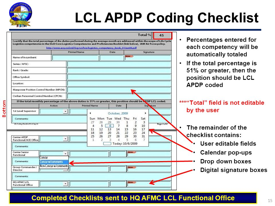 LCL APDP Coding Checklist