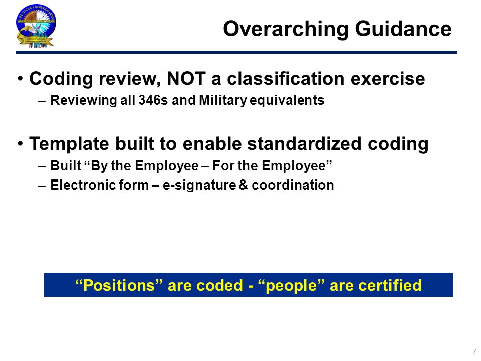 Positions are coded - people are certified