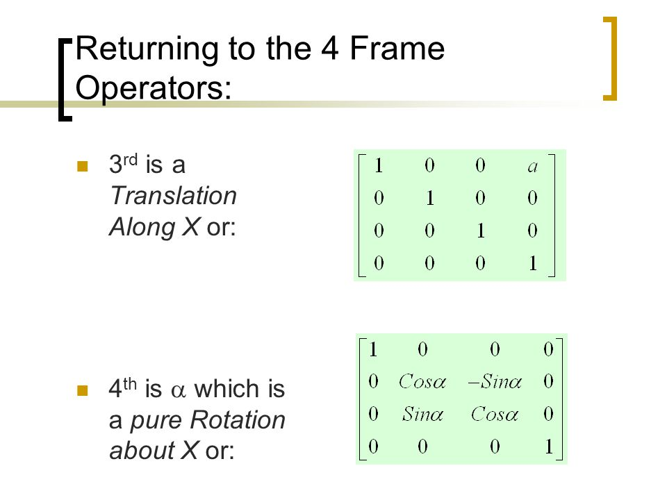 Returning to the 4 Frame Operators: