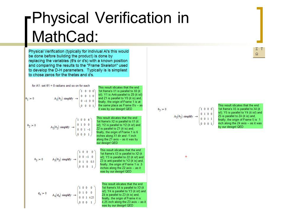 Physical Verification in MathCad: