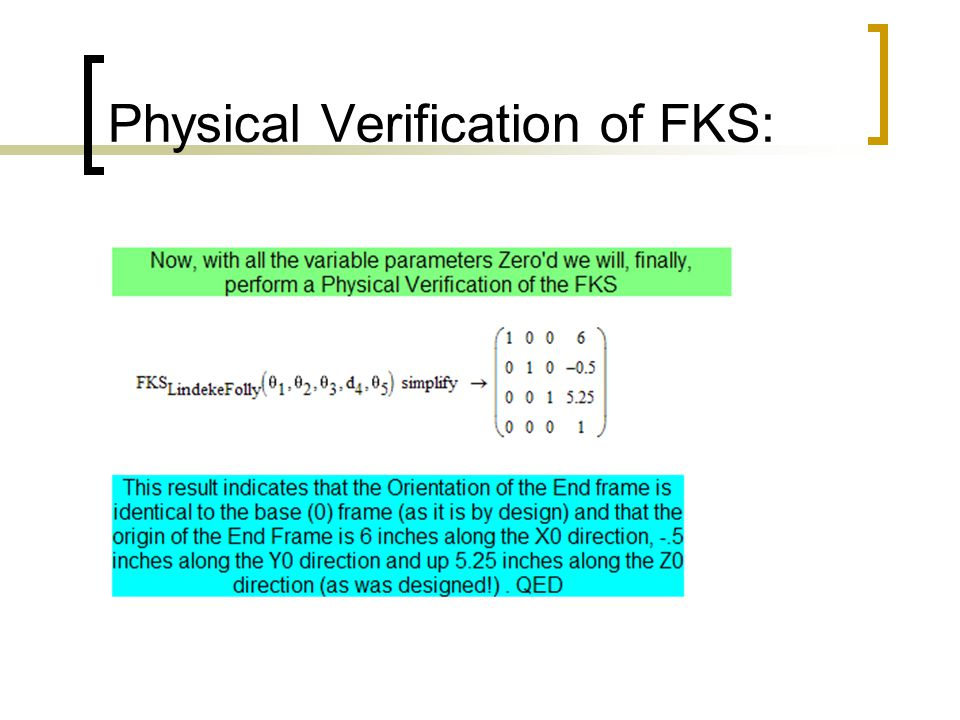 Physical Verification of FKS: