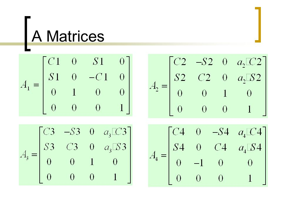 A Matrices