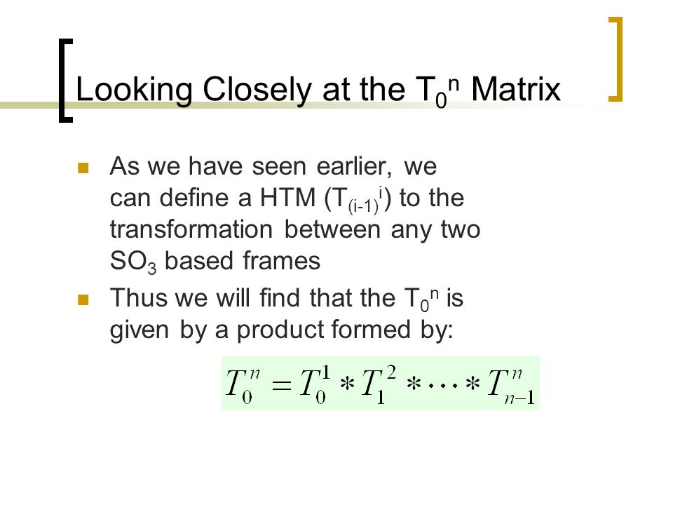 Looking Closely at the T0n Matrix
