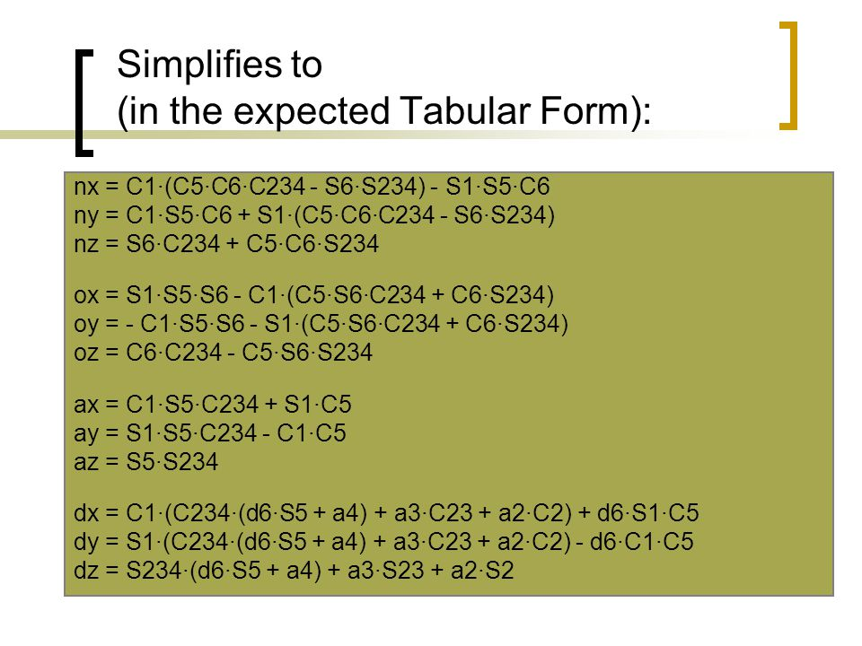 Simplifies to (in the expected Tabular Form):