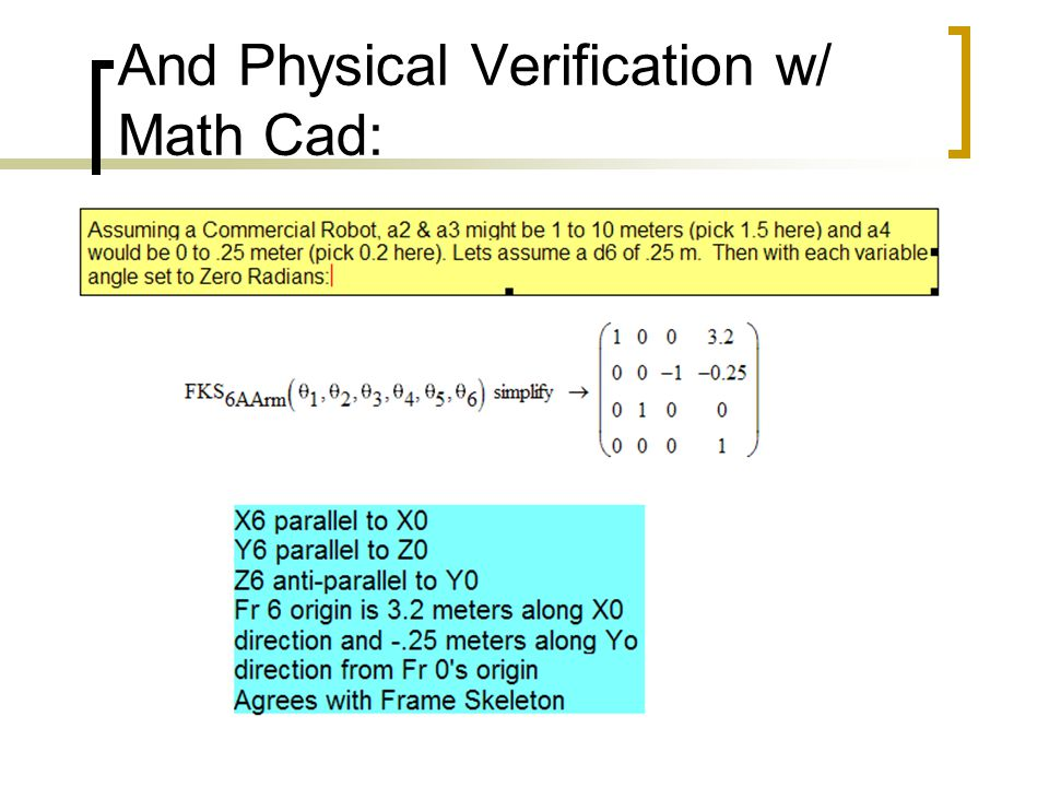 And Physical Verification w/ Math Cad: