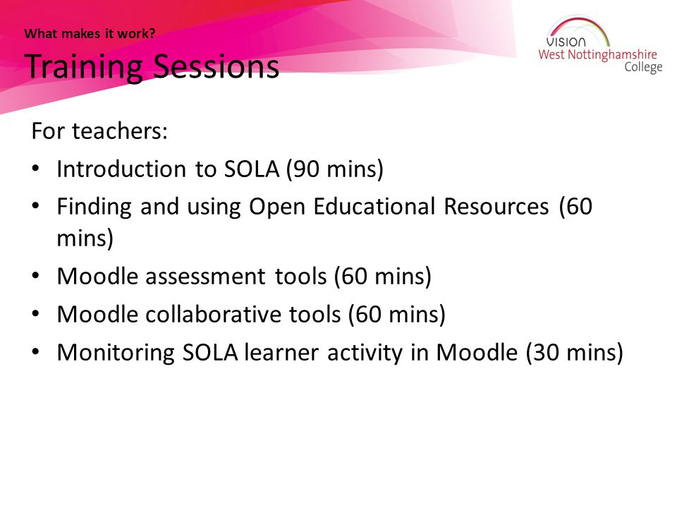 What makes it work Training Sessions