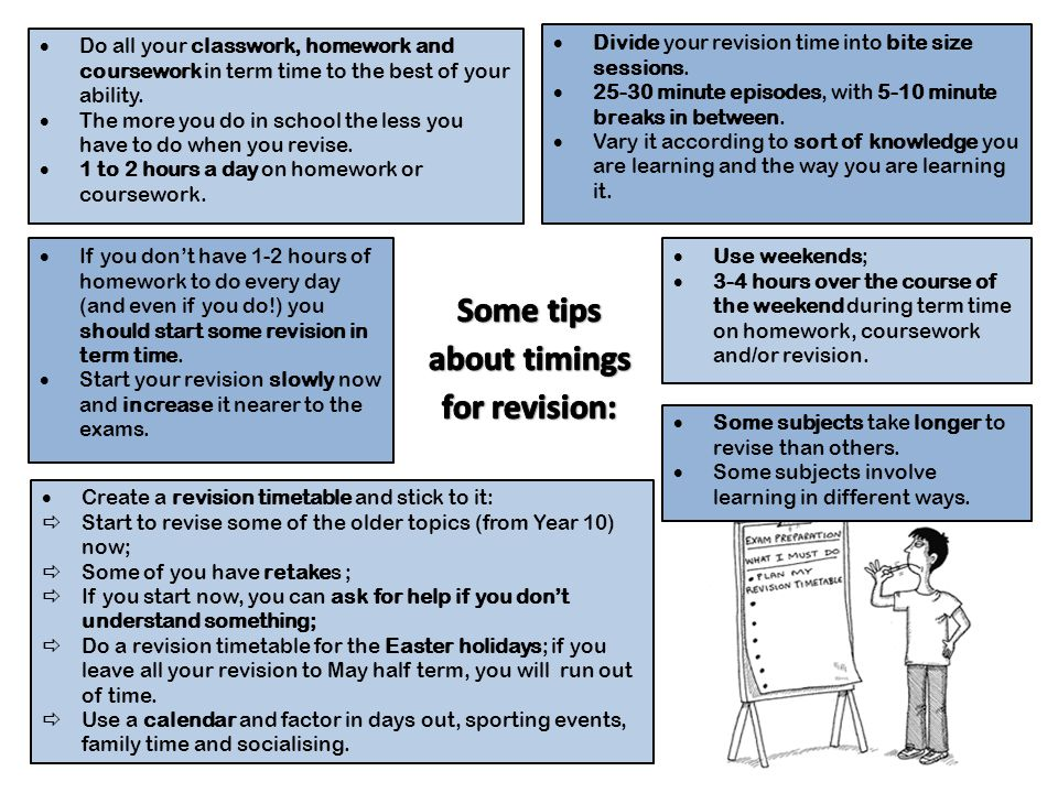Some tips about timings for revision: