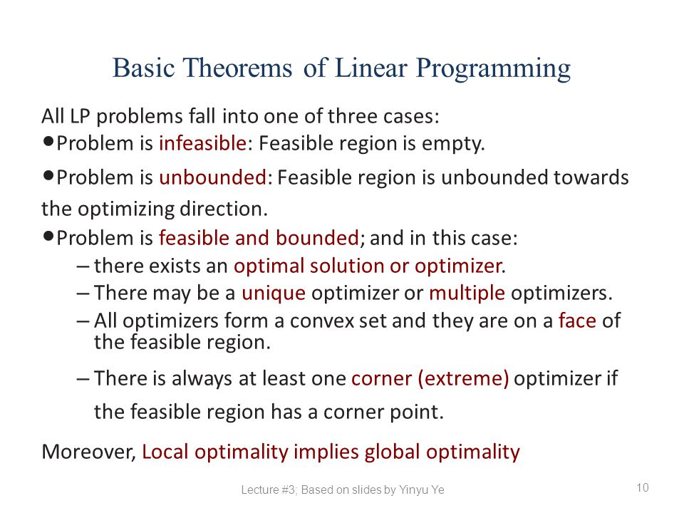 Basic Theorems of Linear Programming