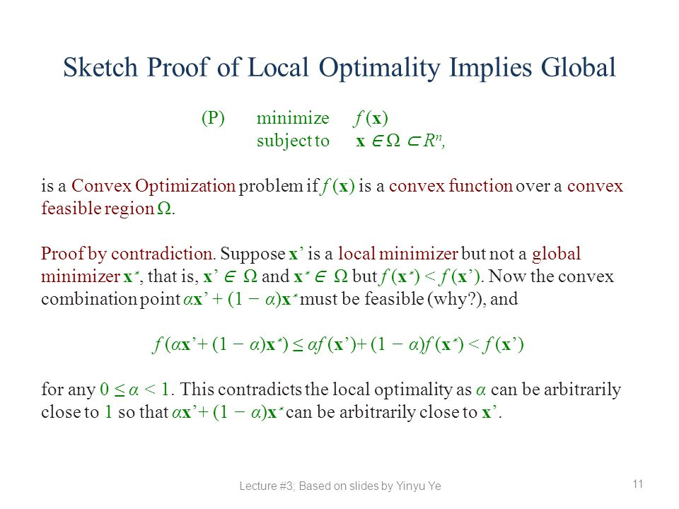 Sketch Proof of Local Optimality Implies Global