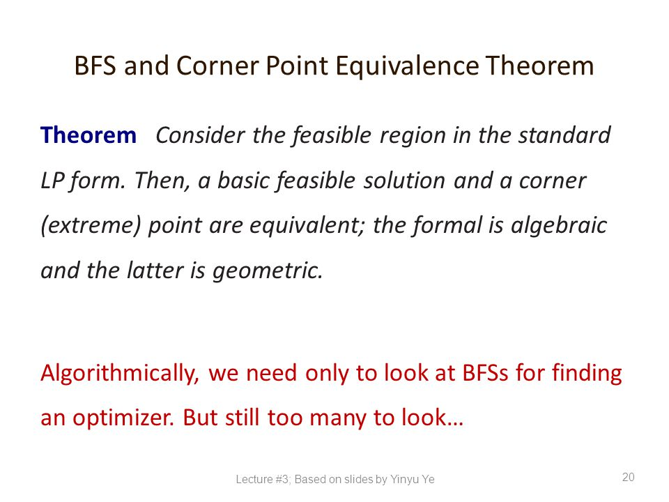 BFS and Corner Point Equivalence Theorem