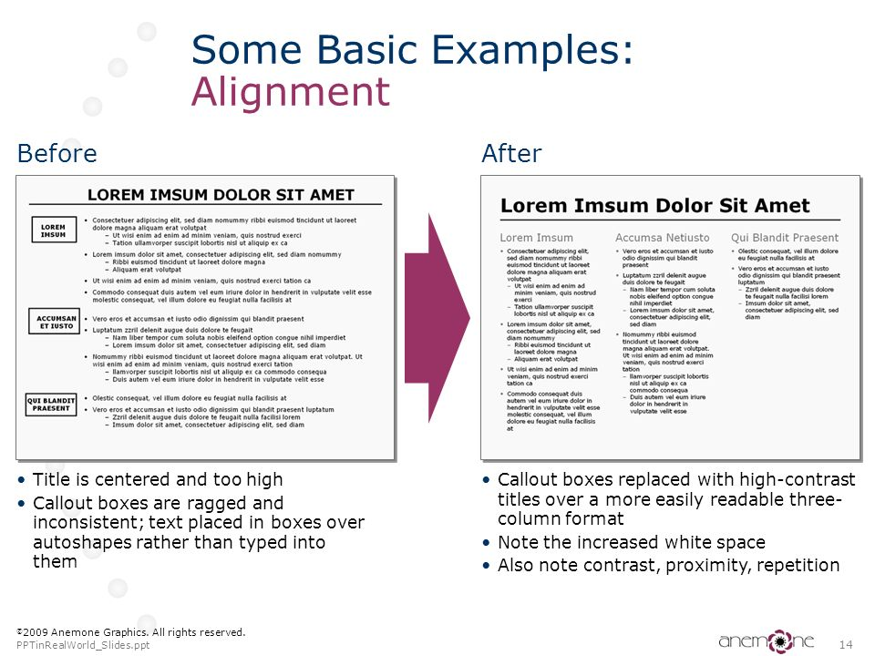 Some Basic Examples: Alignment