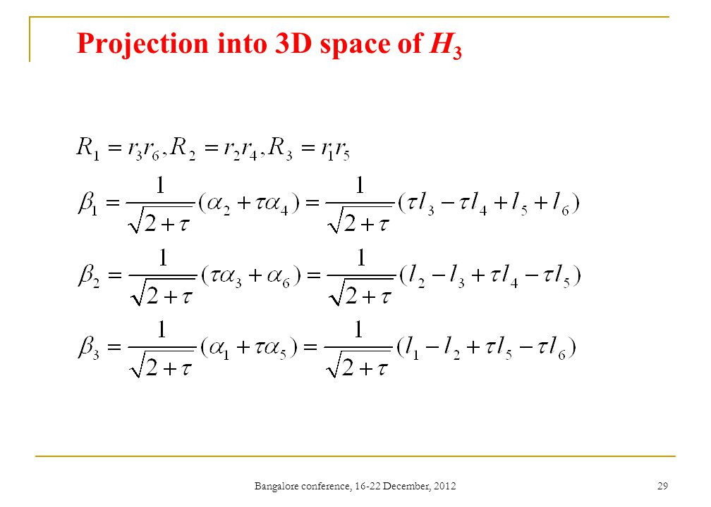 Projection into 3D space of H3