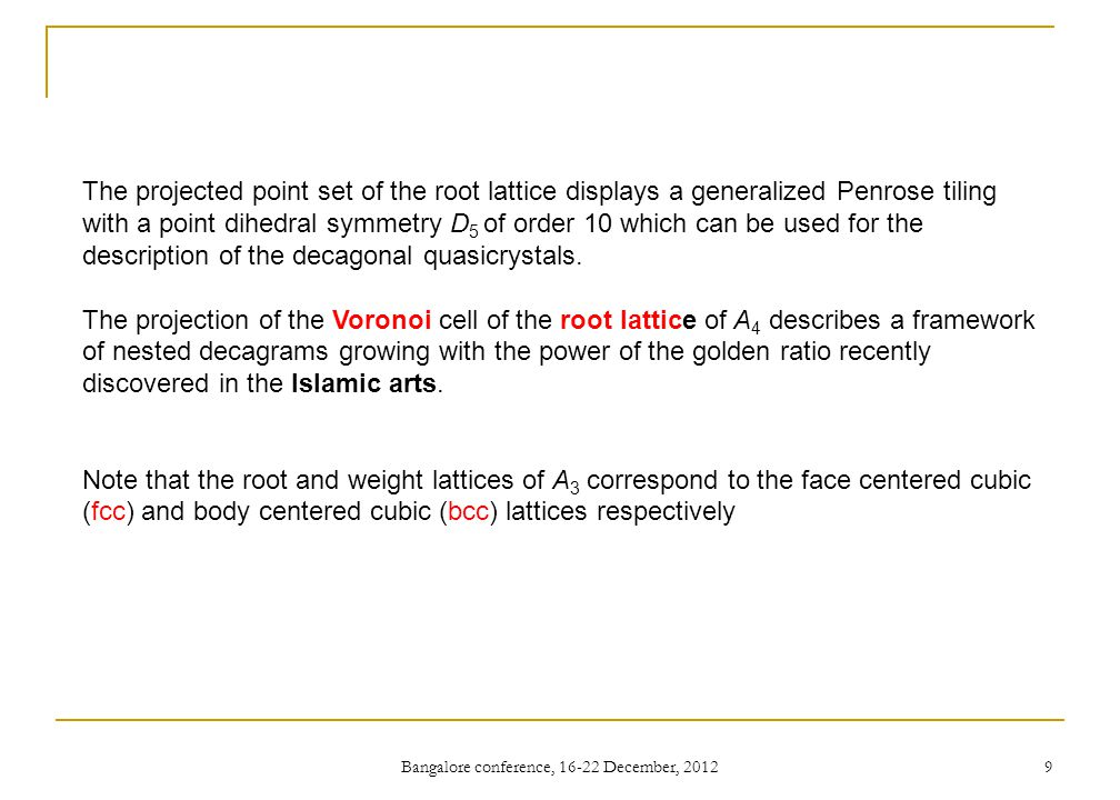 Bangalore conference, 16-22 December, 2012