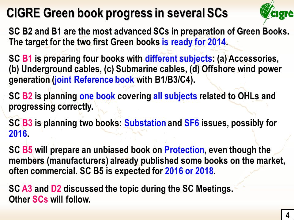 CIGRE Green book progress in several SCs