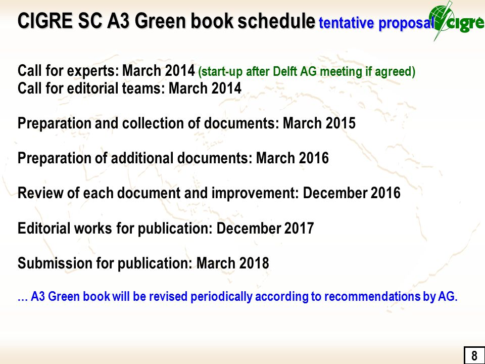 CIGRE SC A3 Green book schedule tentative proposal