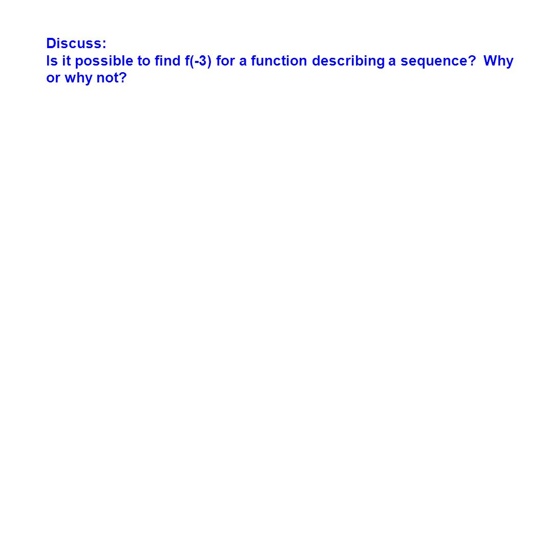Discuss: Is it possible to find f(-3) for a function describing a sequence Why or why not