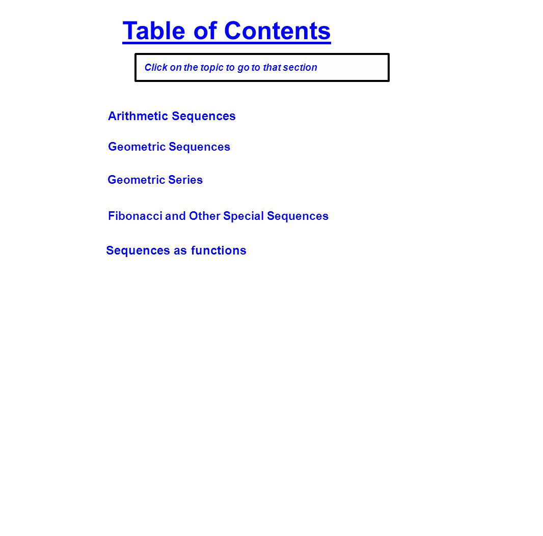 Table of Contents Arithmetic Sequences Sequences as functions