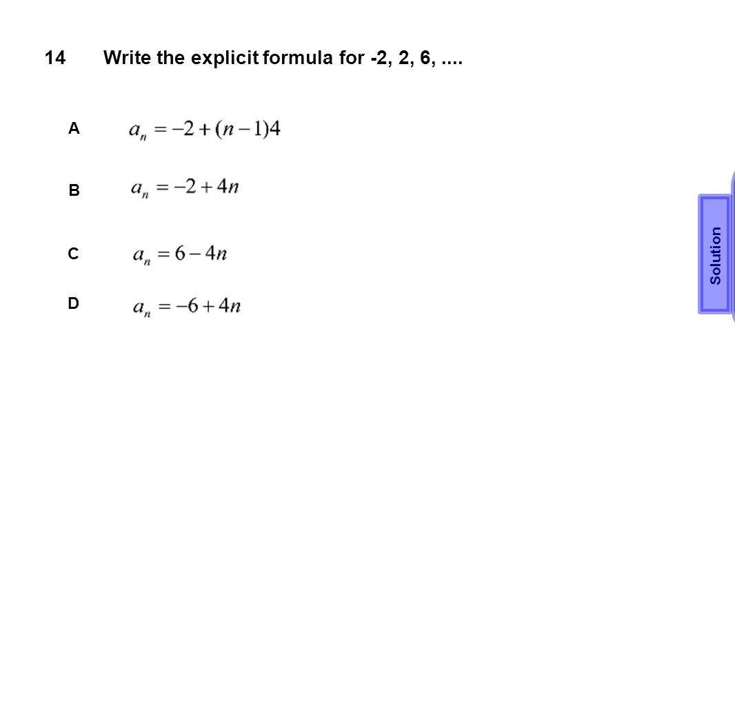 Write the explicit formula for -2, 2, 6, ....