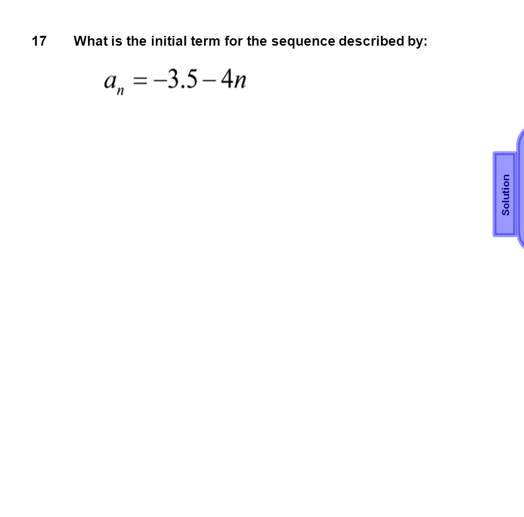 What is the initial term for the sequence described by: