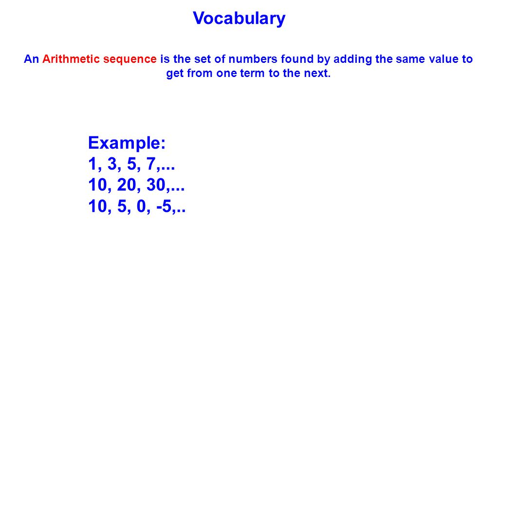 Vocabulary An Arithmetic sequence is the set of numbers found by adding the same value to get from one term to the next.