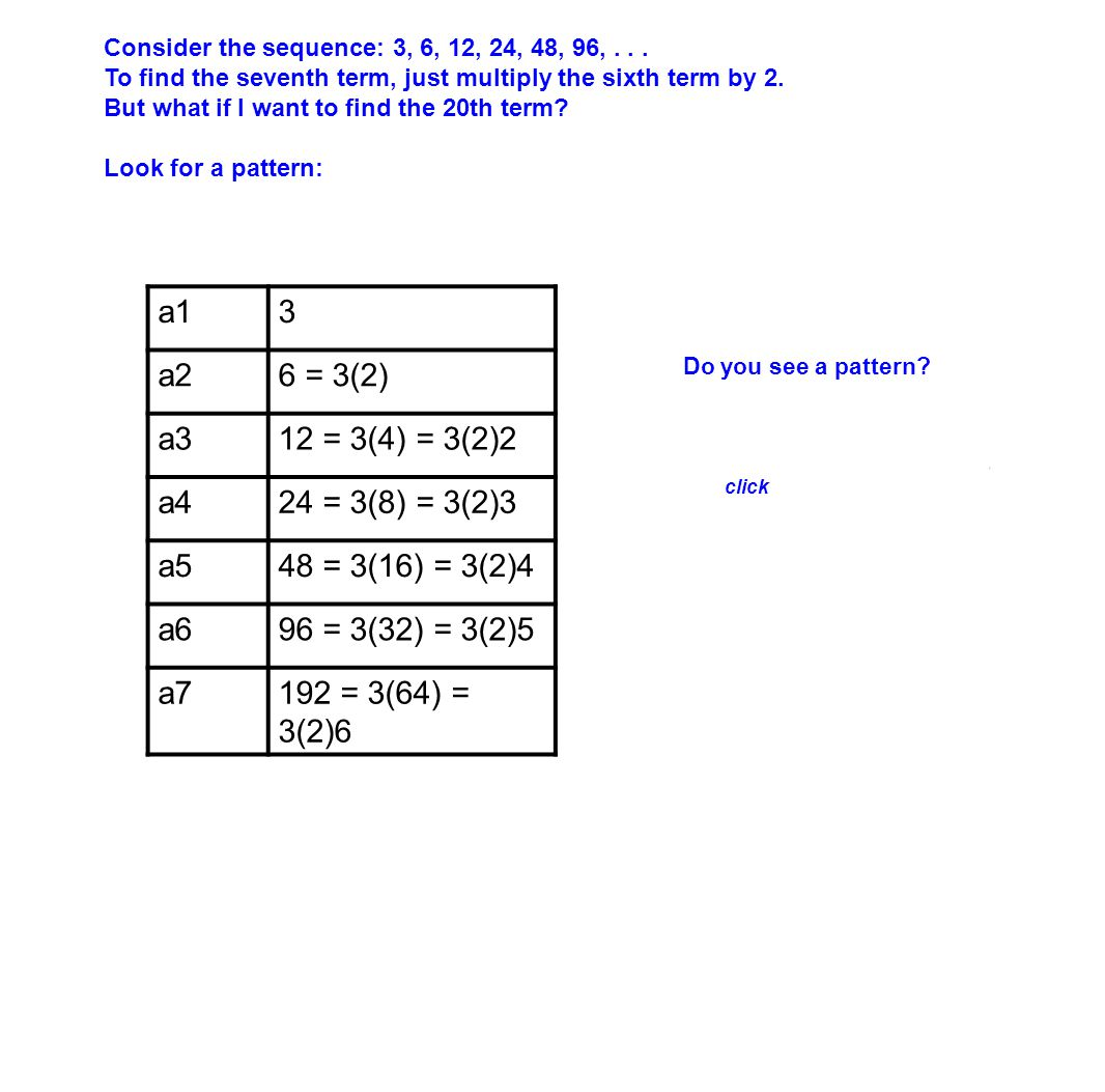 3 6 = 3(2) 12 = 3(4) = 3(2)2 24 = 3(8) = 3(2)3 48 = 3(16) = 3(2)4