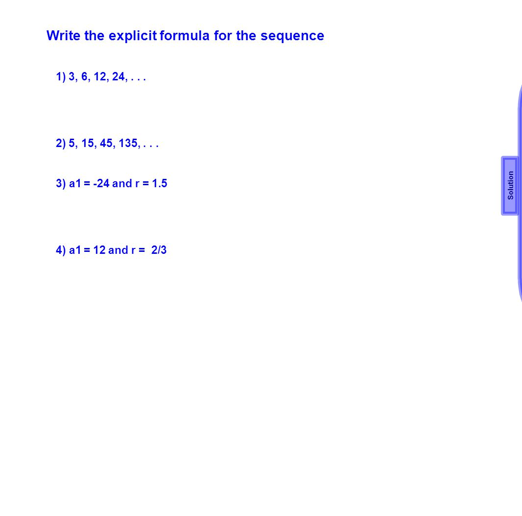 Write the explicit formula for the sequence