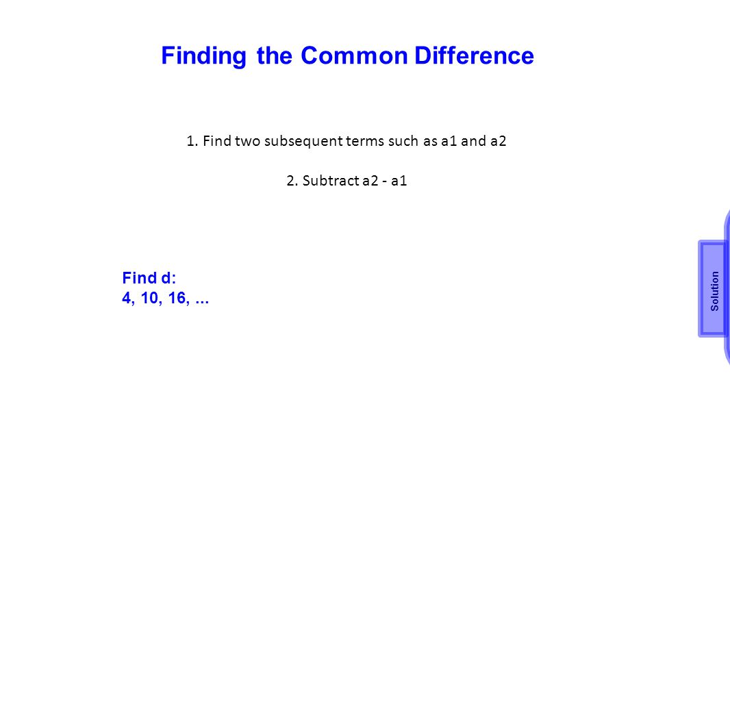 Finding the Common Difference