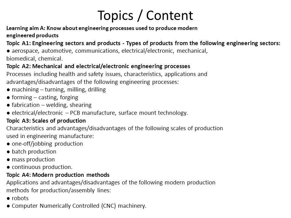 Topics / Content Learning aim A: Know about engineering processes used to produce modern. engineered products.