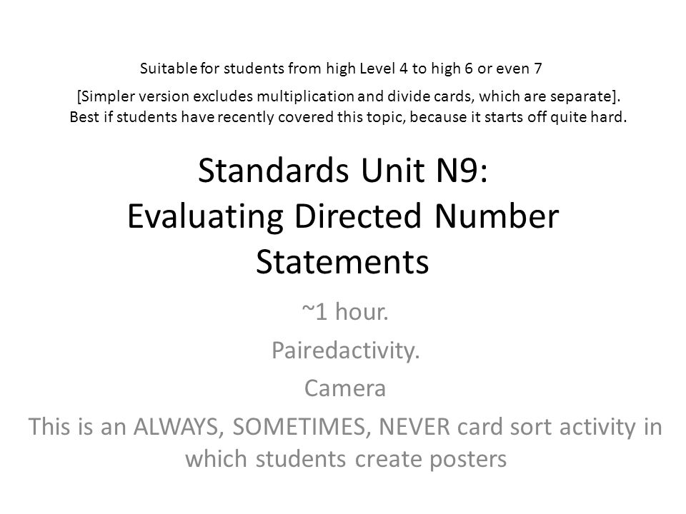 Standards Unit N9: Evaluating Directed Number Statements