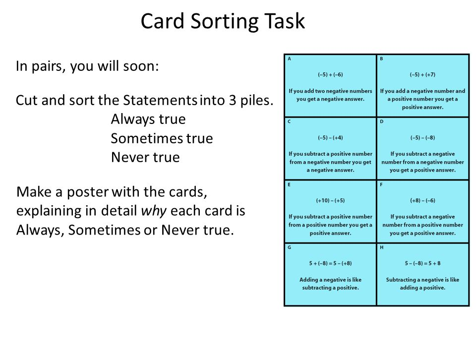 Card Sorting Task In pairs, you will soon: