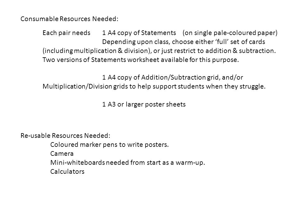 Consumable Resources Needed: