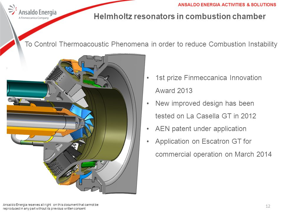 Helmholtz resonators in combustion chamber