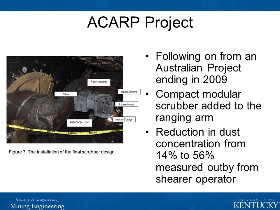 ACARP Project Following on from an Australian Project ending in 2009