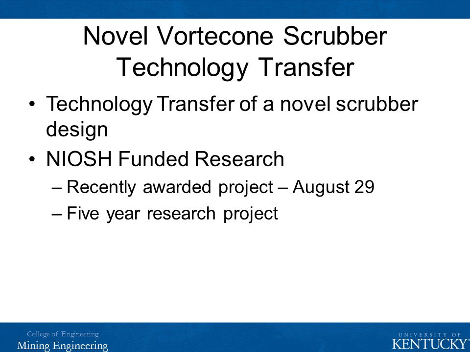 Novel Vortecone Scrubber Technology Transfer