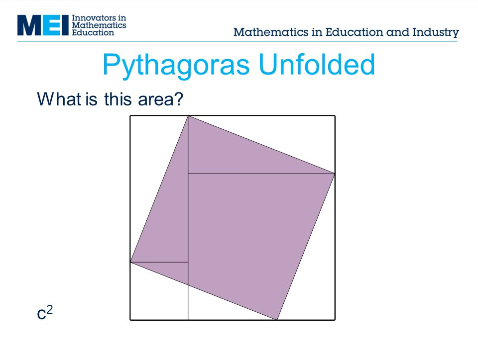 Pythagoras Unfolded What is this area c2