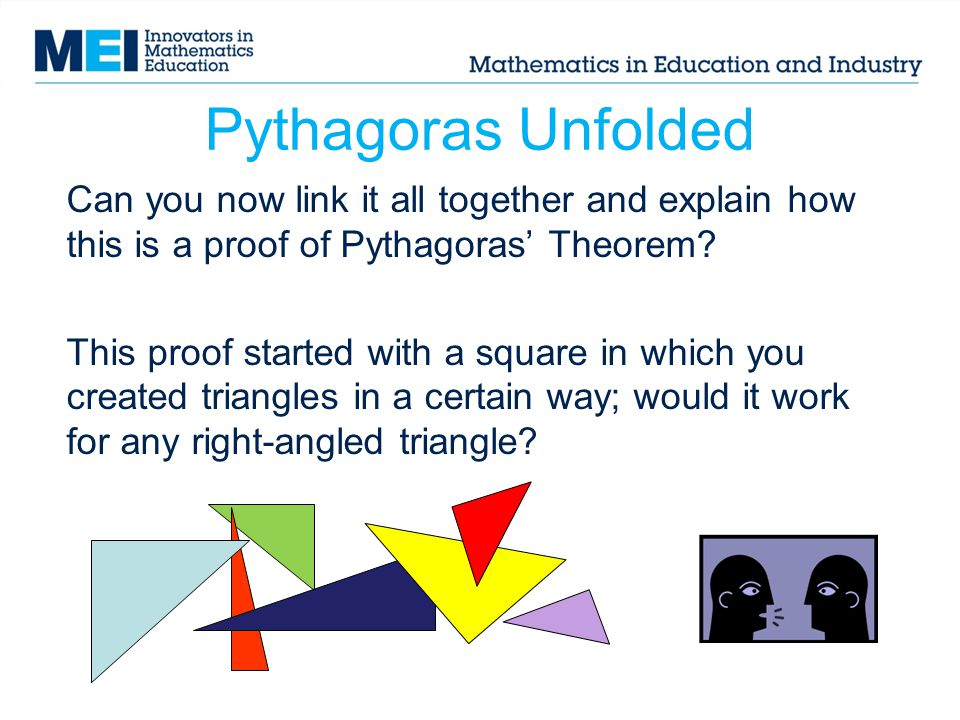 Pythagoras Unfolded Can you now link it all together and explain how this is a proof of Pythagoras' Theorem