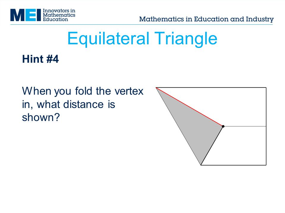 Hint #4 When you fold the vertex in, what distance is shown