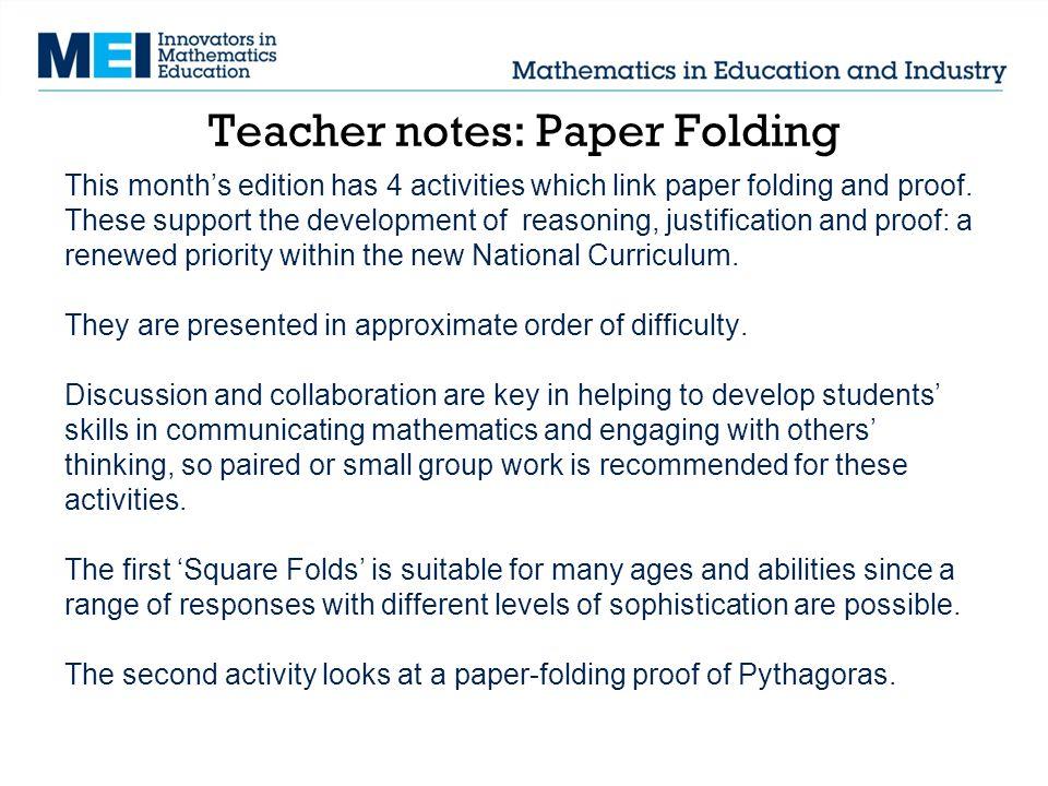 Teacher notes: Paper Folding