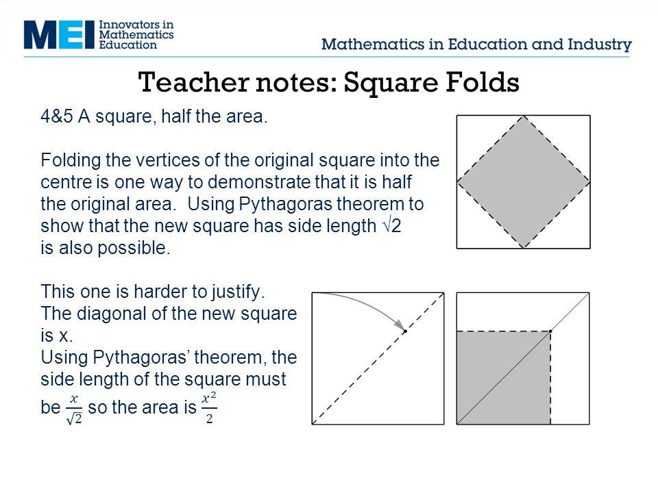 Teacher notes: Square Folds