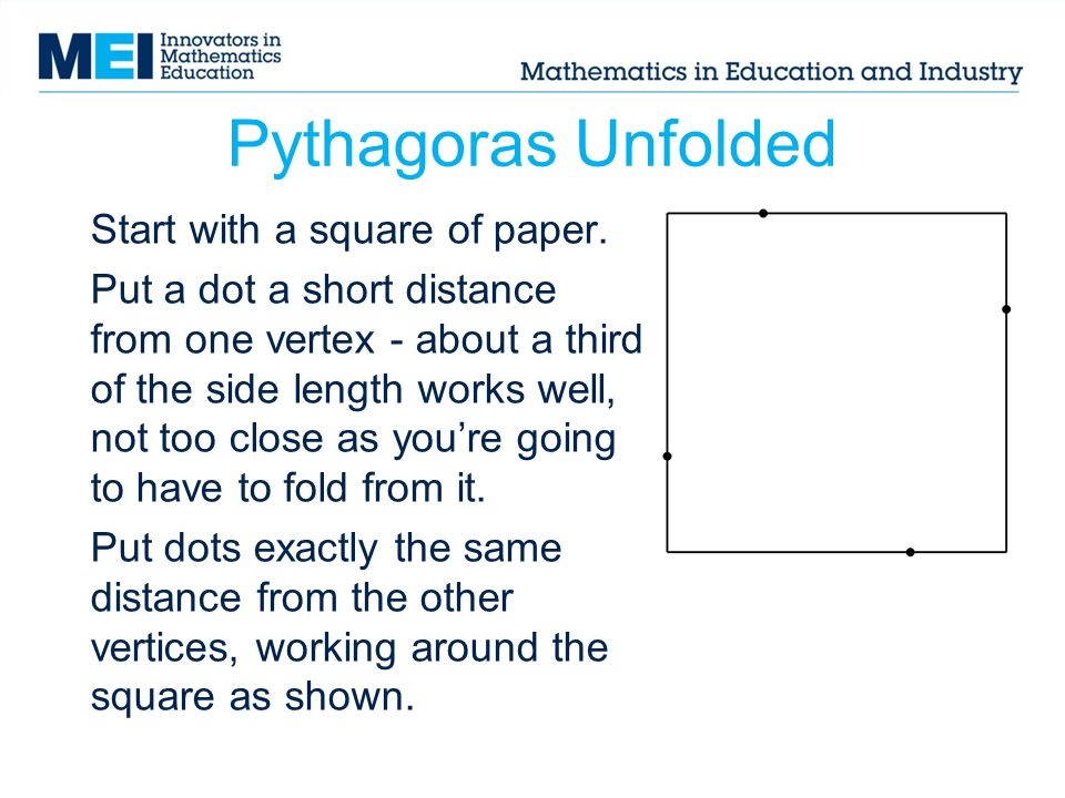 Pythagoras Unfolded Start with a square of paper.