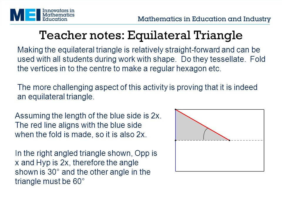 Teacher notes: Equilateral Triangle