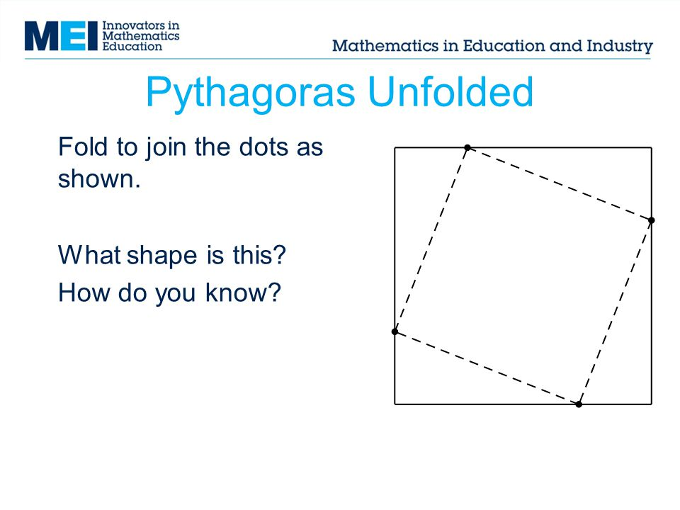 Fold to join the dots as shown. What shape is this How do you know