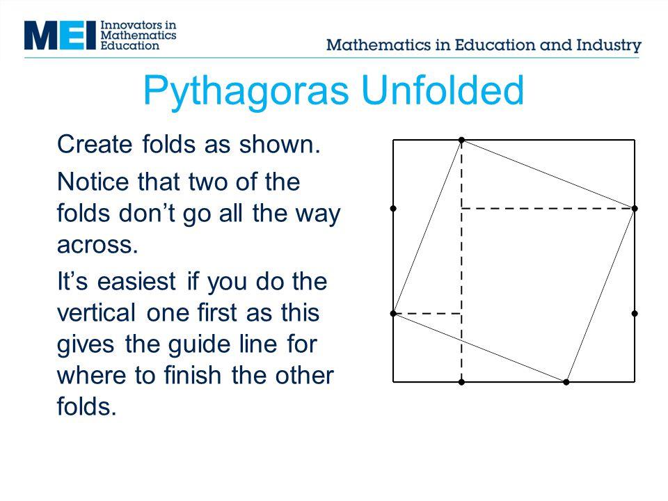 Pythagoras Unfolded Create folds as shown.