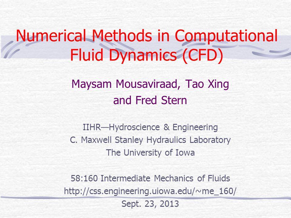 Numerical Methods in Computational Fluid Dynamics (CFD)