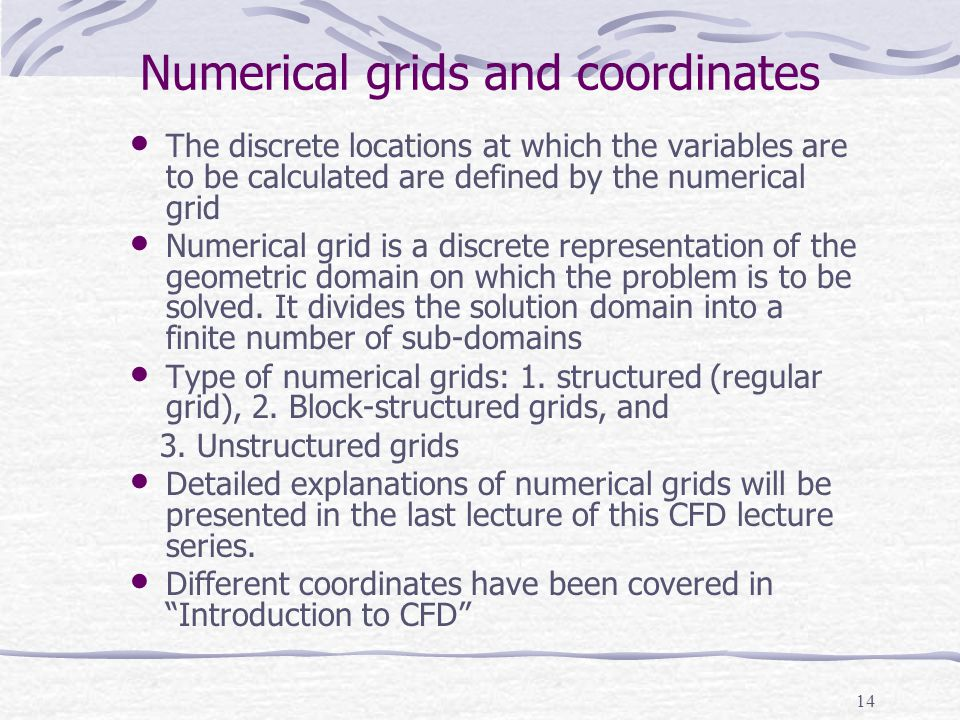 Numerical grids and coordinates