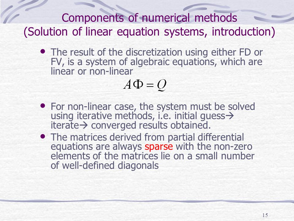Components of numerical methods (Solution of linear equation systems, introduction)