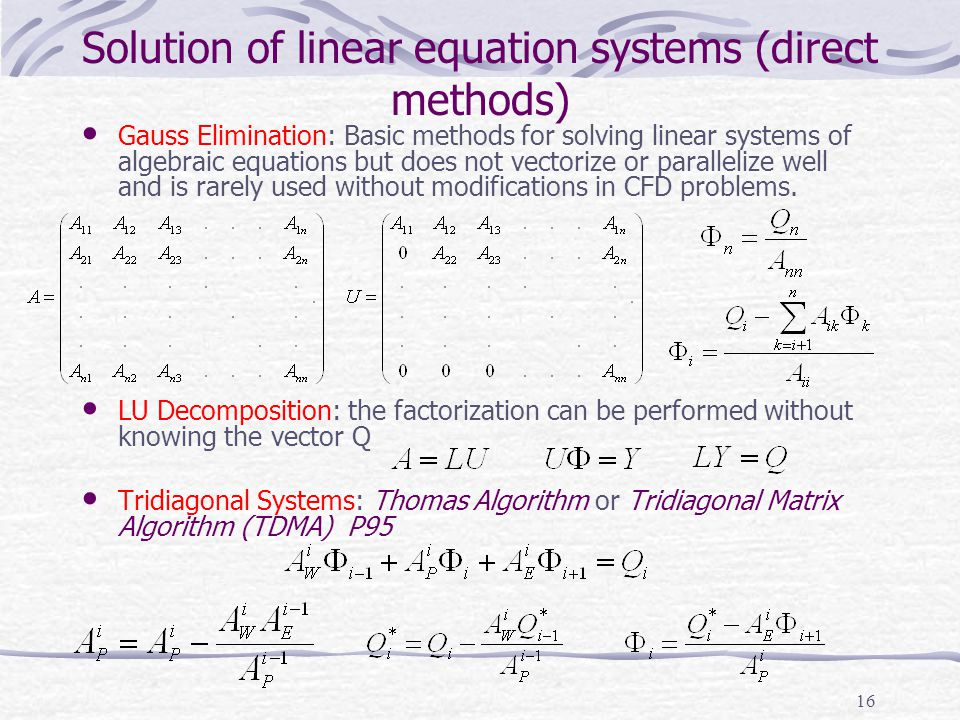 Solution of linear equation systems (direct methods)