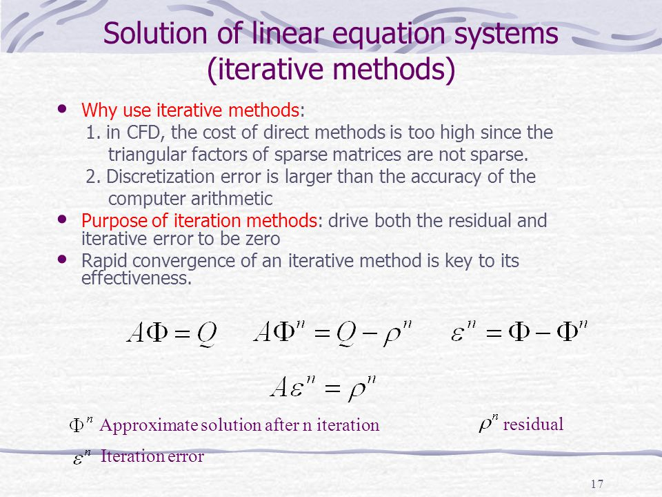 Solution of linear equation systems (iterative methods)