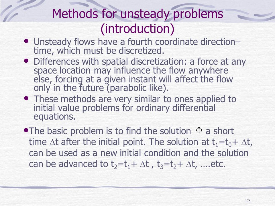 Methods for unsteady problems (introduction)