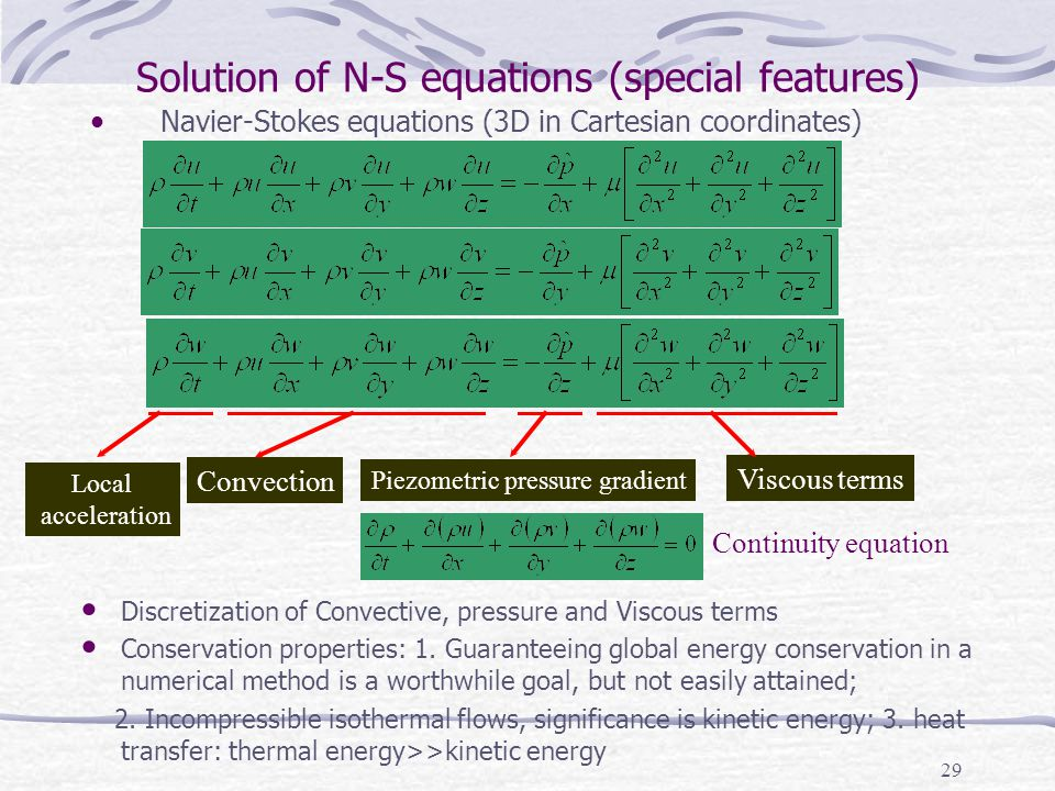 Solution of N-S equations (special features)
